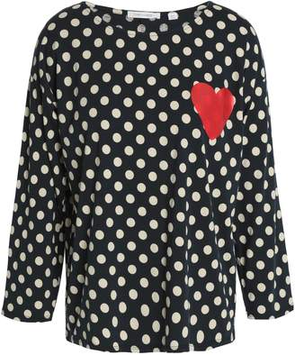 Chinti and Parker Appliqued Polka-dot Cotton-jersey Top