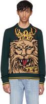 Dolce & Gabbana Green Royal Lion Sweater