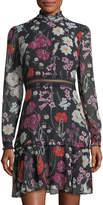 Donna Morgan Floral Chiffon Mock-Neck Dress