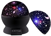 Newest SCOPOW Rotating Universe Cover and Star Cover Night Lighting 3 Mode Lamp Romantic Projector, Rotation Night Projection Lamp Kids Bedroom Bed Lamp for Christmas Children Baby Girl Boy (Black)