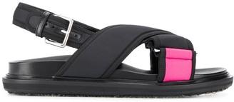 Marni neon panelled flat sandals