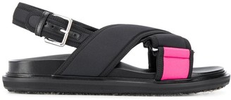 Marni Neon Panelled Flat Sandals