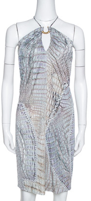 Roberto Cavalli Sage Animal Printed Jersey Halterneck Mini Dress S
