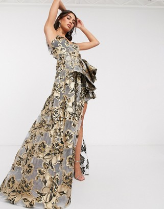 Bariano ultimate high low jacquard maxi dress in gold