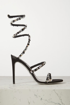 Rene Caovilla Cleo Crystal-embellished Satin Sandals - Black