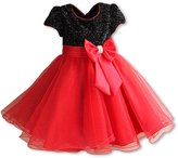 Pettigirl Girls Party Dresses Black Red Big Bow Toddler Wedding Dress 7 Years
