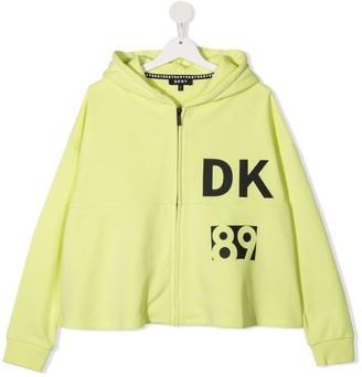 DKNY TEEN logo-print zip-up hoodie