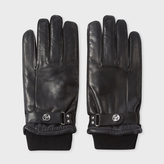 Paul Smith Men's Black Leather Ribbed Cuff Gloves