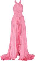 Oscar de la Renta Asymmetric plissé-satin gown