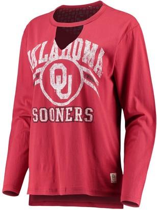 Women's Pressbox Crimson Oklahoma Sooners Scout Choker Long Sleeve T-Shirt