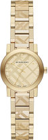 Burberry 26mm Check-Engraved Yellow Golden Plated City Watch