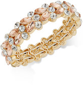 Charter Club Gold-Tone Pink and Clear Crystal Stretch Bracelet, Created for Macy's