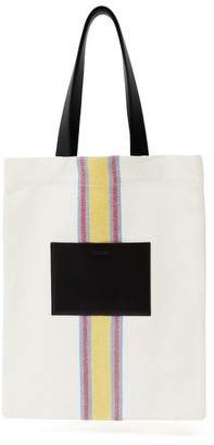 Jil Sander Striped Canvas And Leather Tote Bag - Womens - White Multi