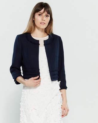 Karl Lagerfeld Paris Three-Quarter Sleeve Tweed Jacket