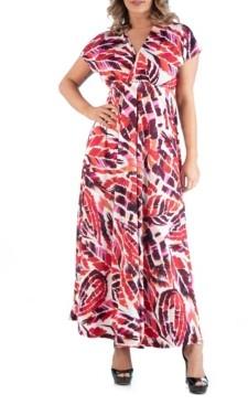 24seven Comfort Apparel Women's Plus Size Brushstroke Print Maxi Dress