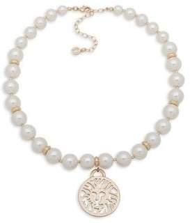 Anne Klein Goldtone & Faux Pearl Pendant Necklace