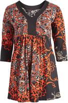 Aller Simplement Black & Red Arabesque V-Neck Empire-Waist Dress - Plus Too