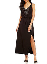 London Times Lace Inset Matte Jersey Maxi Dress