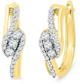 D-GOLD Yellow Plated Sterling Silver Round Diamond Fashion Earring (1/3 cttw)