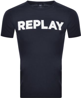 Replay Crew Neck Logo T Shirt Navy