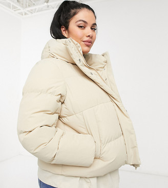 Simply Be padded coat in beige