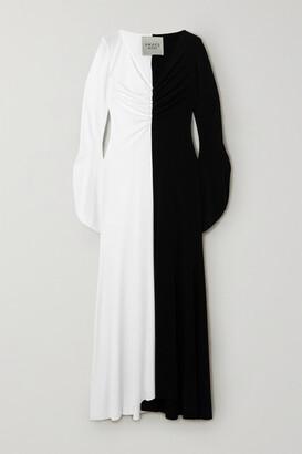 A.W.A.K.E. Mode Two-tone Ruched Crepe Maxi Dress
