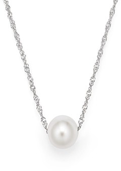 Bloomingdale's Cultured Freshwater Pearl Floating Pendant Necklace in 14K White Gold, 18