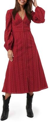 NA-KD Long Sleeve Broderie Anglaise Dress