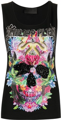 Philipp Plein Flower Embellished Tank Top