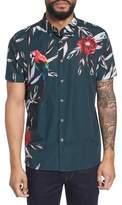 Ted Baker Trim Fit Parrot Print Sport Shirt