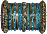 Indian Bridal Collection! Panache' Turquoise Bangles Set in Gold Tone By BangleEmporium