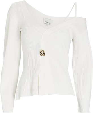 3.1 Phillip Lim Rib Knit One-Shoulder Sweater