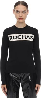 Rochas Intarsia Logo Wool Knit Sweater