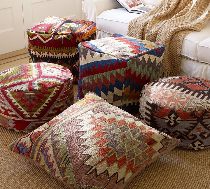 Pottery Barn PB Found Kilim Floor Seating Covers - Bright