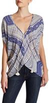 Love Stitch Short Sleeve Tassel Tie Blouse