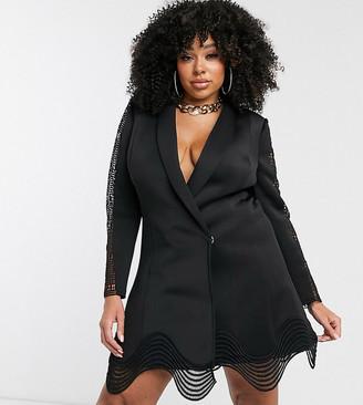 ASOS DESIGN Curve lace insert cut out tux blazer mini dress