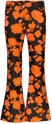 Marques Almeida Floral Print Cropped Flared Trousers