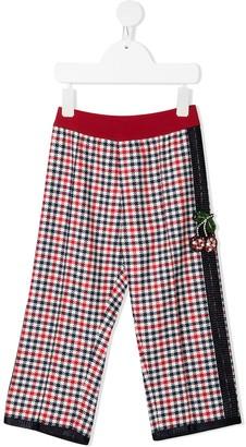 Mi Mi Sol Cherry-Applique Gingham Trousers