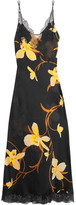 Carine Gilson Lace-trimmed Printed Silk-chiffon Nightdress - Black