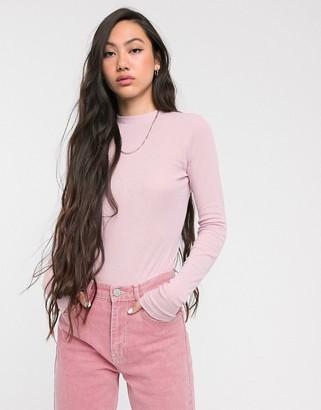 Weekday Meja long sleeve top in pink