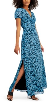 Bar III Heart-Print Ruched-Waist Dress, Created for Macy's