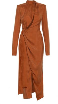 ALEKSANDRE AKHALKATSISHVILI Draped Crepe de Chine Wrap Dress