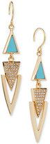 Vera Bradley Gold-Tone Pavé & Blue Stone Drop Earrings