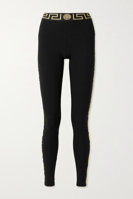 Versace - Striped Stretch-cotton Jersey Leggings - Black