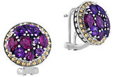 Effy Amethyst, Rhodolite, Sterling Silver and 18K Yellow Gold Button Stud Earrings