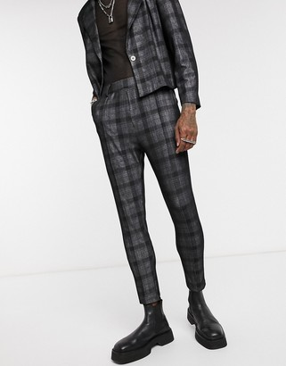 One Above Another tailored pants in dark grey check