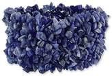 Novica Bright Blue Natural Sodalite Stone Wide Cuff Stretch Bracelet, 'Infinite Blue'