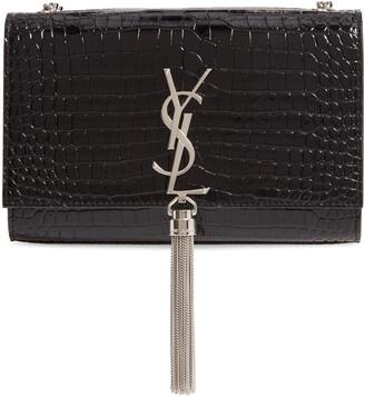 Saint Laurent Small Kate Croc Embossed Leather Shoulder Bag