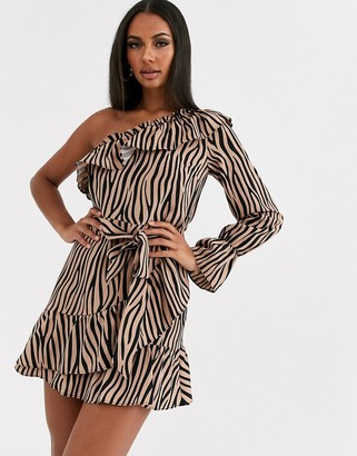 Love & Other Things one shoulder ruffle dress in zebra print