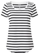 Jeanswest Kendra Short Sleeve Stripe Tee-White/Black-XS